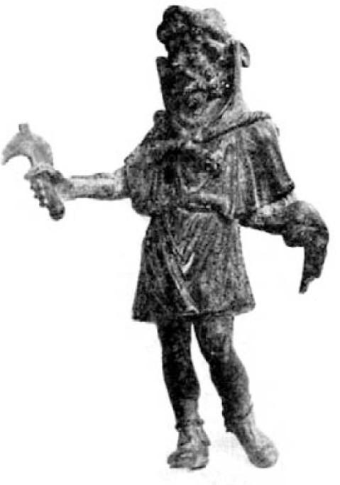 Sucellos (o Silvanus). Statuetta, bronzo, I-II sec. d.C. ca., da Mours-Saint-Eusèbe. Valence, Musée des Beaux-Arts et d'Archéologie.