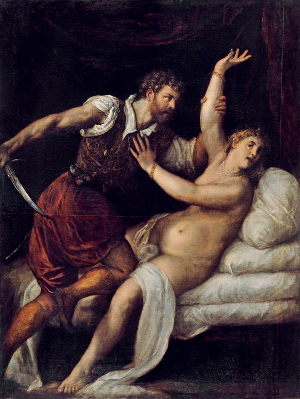Tiziano Vercellio, Tarquinio e Lucrezia. Olio su tela, 1570. Bordeaux, Musée des Beaux-Arts