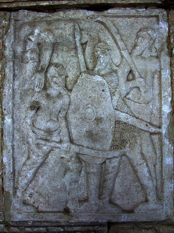 Guerrieri daci. Bassorilievo su metopa, marmo, 109 d.C. dal Tropaeum Traiani di Adamclisi (Romania).