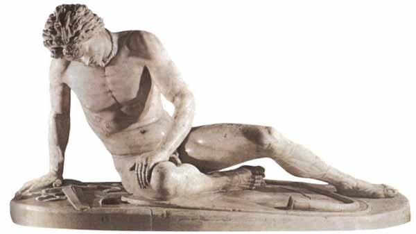 Il Galata morente. Opera attribuita allo scultore ellenistico Epigono. Copia romana in marmo risalente al 230-220 a.C. ca. Conservata a Roma, Musei Capitolini.
