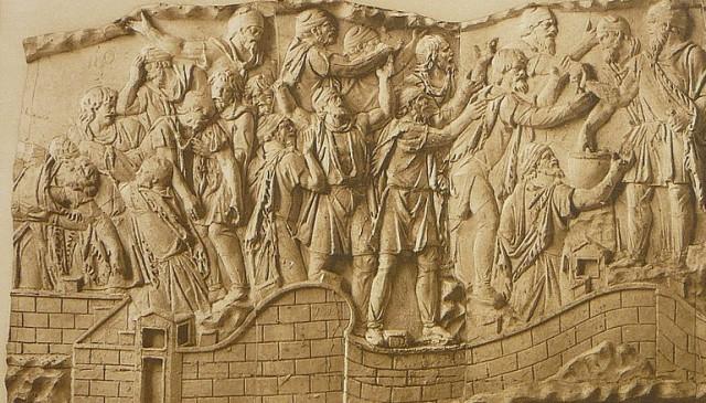 Suicidio col veleno dei capi daci (CXX, Cichorius). Rilievo, marmo, 113 d.C. dalla Colonna Traiana.