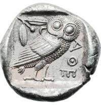 Atene. Tetradramma, Atene 465-454 a.C. AR 16,95 gr. R - AΘE, civetta stante con ramo d'ulivo e luna crescente