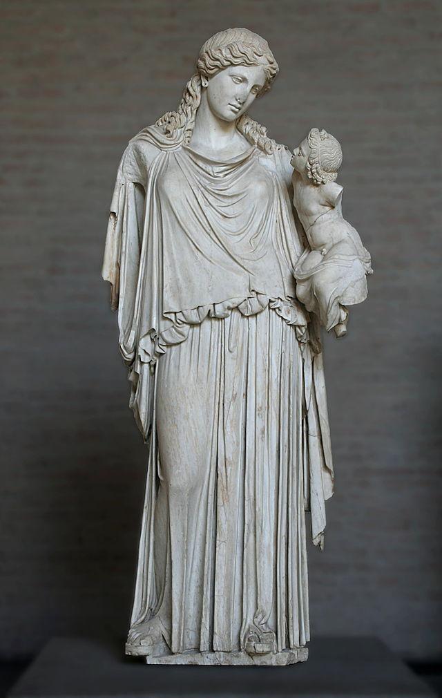Cefisodoto il Vecchio. Irene e Pluto. Statua, copia romana in marmo da originale del 375 a.C. ca dall'Agorà di Atene. München, Glyptothek.