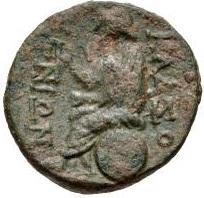 Dramma, Clazomene 190-30 a.C. AE 7,24 gr. Rovescio: ΚΛΑΖΟΜΕΝΙΩΝ, statua di Anassagora, voltata a sinistra, assisa su un globo con destra alzata in atto di parlare.