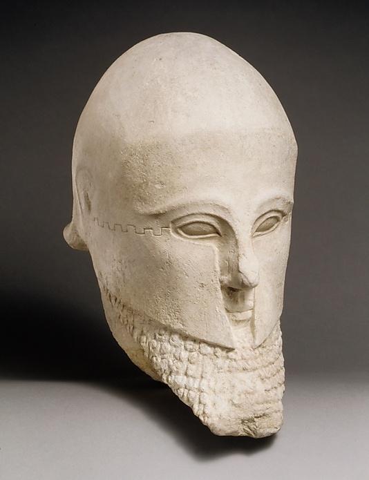 Guerriero barbato. Testa, calcare, inizi V sec. a.C. ca. da Cipro. Metropolitan Museum of Art