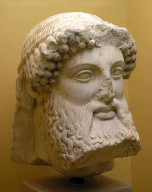 Hermes. Testa, marmo, V sec. a.C. da un'erma. Atene, Museo dell'Antica Agorà.