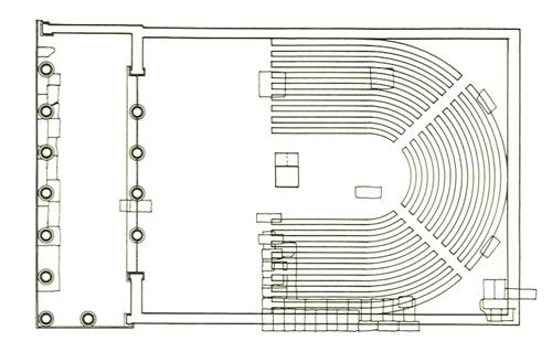 Ricostruzione planimetrica del Bouleuterion di Atene, fine V secolo a.C.