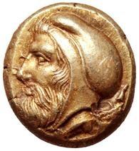 Tissaferne, satrapo di Misia. Hekte, Focea 478-387 a.C. ca. EL 2,55 gr. Dritto: Testa barbata del satrapo verso sinistra.