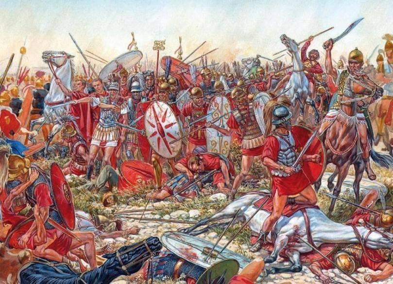 Scontro fra Romani e Cartaginesi. Illustrazione di Igor Dzis.