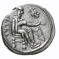 Tarkumuwa (Datames), satrapo di Cilicia. Statere, Tarsos 375 a.C. ca. Ar. 10, 56 gr. Verso: Il satrapo in abiti persiani, seduto sul trono, intento ad ispezionare una freccia. A sinistra: TRKMW (il nome in aramaico).