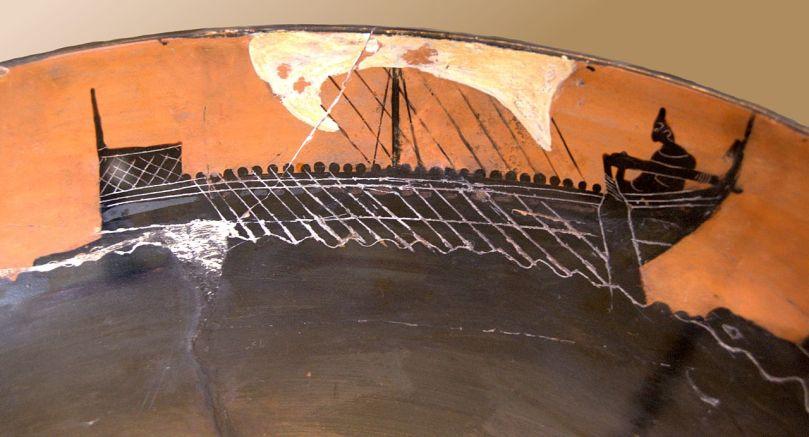 Gruppo del pittore Leagro. Una nave. Pittura vascolare dall'interno di una kylix attica a figure nere, 520 a.C. ca., da Cerveteri. Paris, Cabinet des médailles.